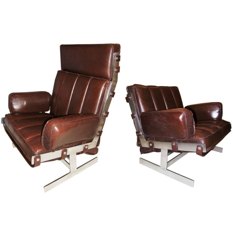 Pair of Arne Norell Steel and Leather Club Chairs