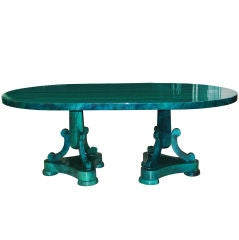 Malachite Green Goatskin Dining Table Attributed to Aldo Tura