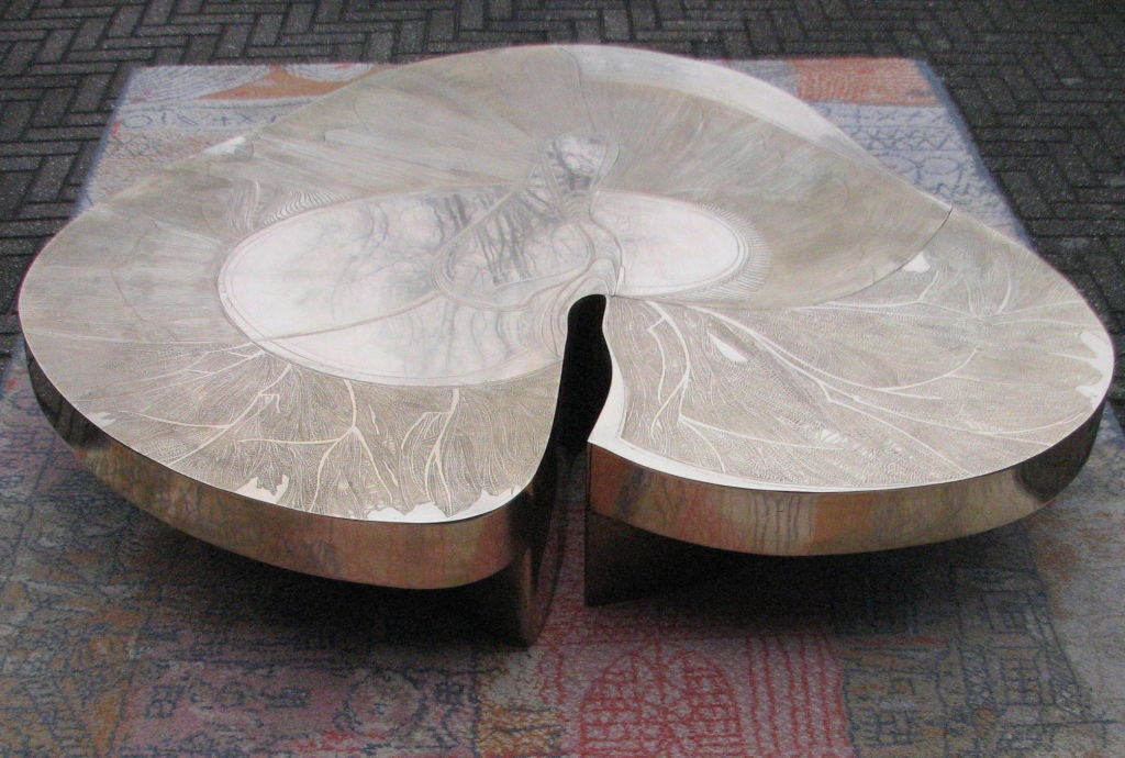 Signed Armand Jonckers Etched Bronze Coffee Table 6