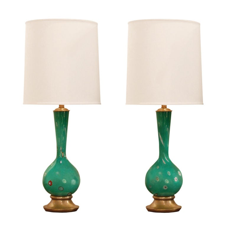 this pair of hand blown glass table lamps by fratelli toso is no. Black Bedroom Furniture Sets. Home Design Ideas