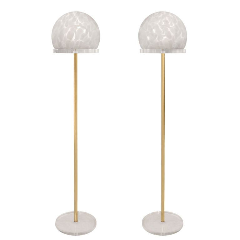 this pair of floor lamps in brass and lucite with mottled glass shade. Black Bedroom Furniture Sets. Home Design Ideas