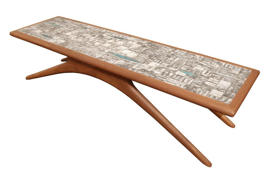 Coffee Table in Walnut and Inset Ceramic Tiles by Vladamir Kagan 2