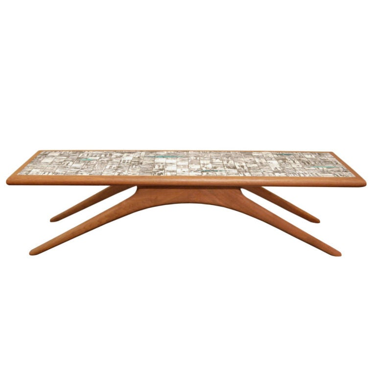 Coffee Table in Walnut and Inset Ceramic Tiles by Vladamir Kagan