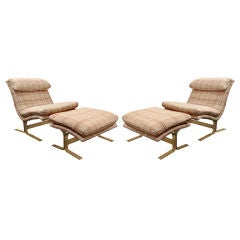 Pair of Chairs and Ottomans with Brass Bases by Saporiti Italia