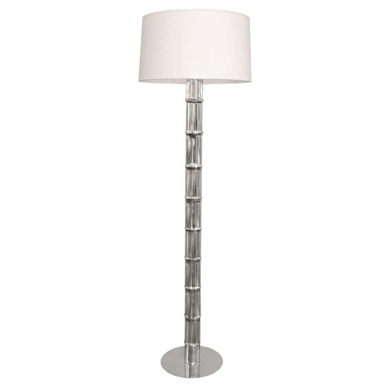 Floor Lamp in Chrome with Bamboo Motif