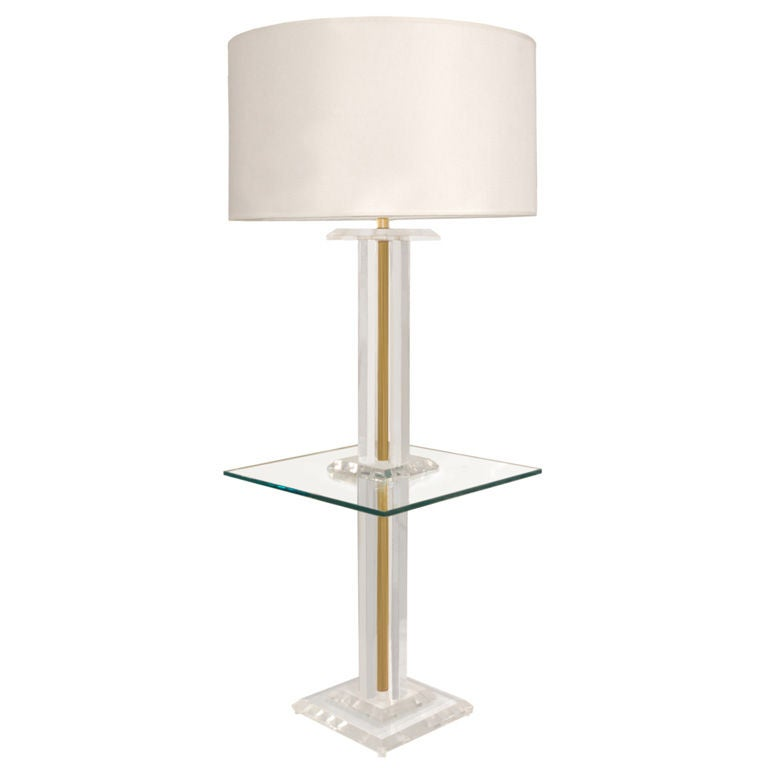 this floor lamp in lucite and brass with glass table is no longer. Black Bedroom Furniture Sets. Home Design Ideas