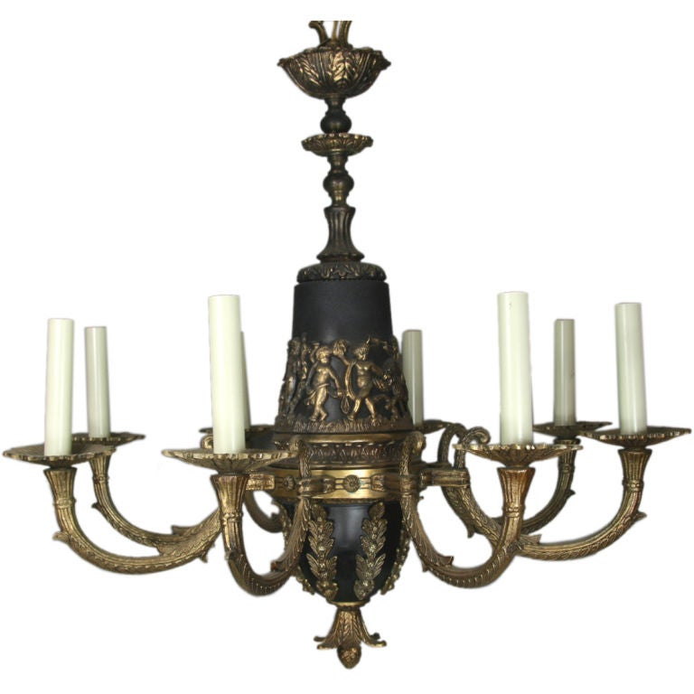 On sale black and brass putti italian chandelier at 1stdibs - Chandeliers on sale online ...