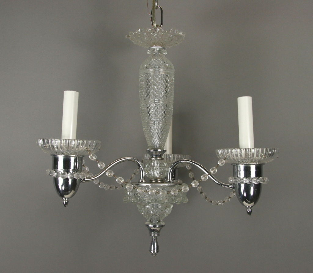 Cut Crystal Chandelier In Good Condition For Sale In Douglas Manor, NY