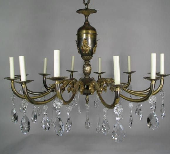 ON SALE Oversized  Italian, Two-Tone Crystal and Bronze Chandelier 4