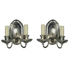 Pair of 1920s, Silver Plated Double Arm Sconces