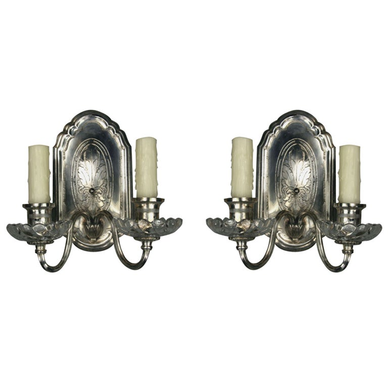 Pair of 1920s, Silver Plated Double Arm Sconces For Sale at 1stdibs