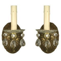 Pair  Single Arm Crystal Drop  Sconce (Two pair  available)