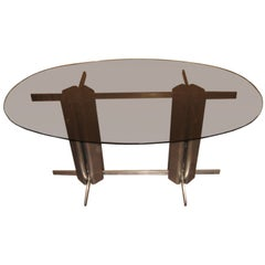Oval St Gobain Glass Dining Table
