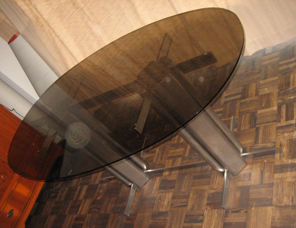 French Oval St Gobain Glass Dining Table For Sale
