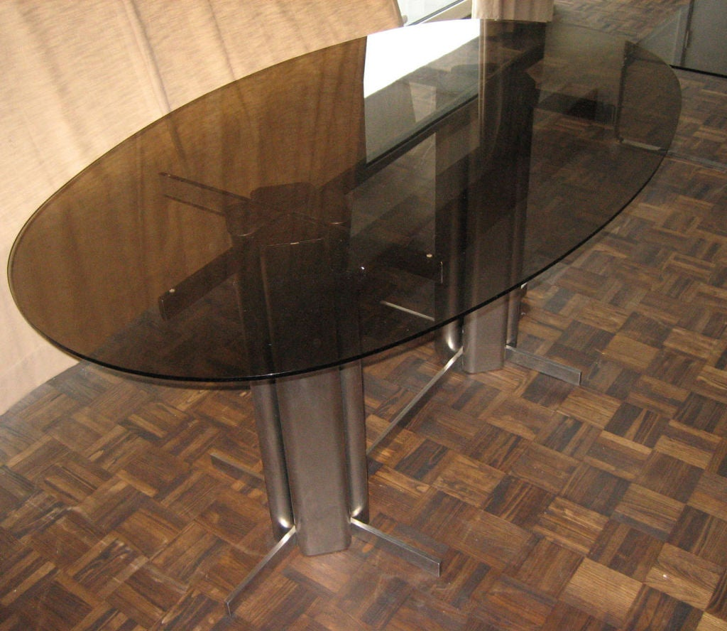 Oval St Gobain Glass Dining Table For Sale At 1stdibs