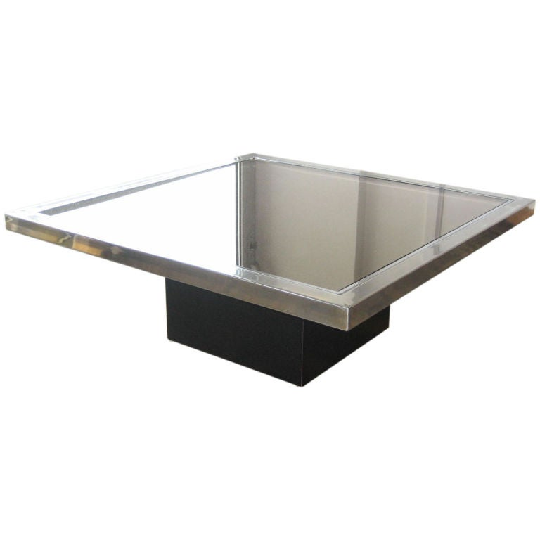 Maison Jansen Mirrored Square Coffee Table For Sale