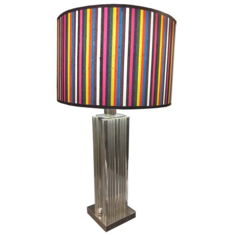 Large Metal Lamp Shade: Large Metal Table Lamp With Stripes Shade At 1stdibs