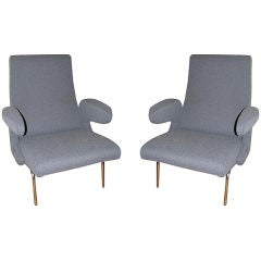 Pair of Delfino Armchairs with Ottoman by Erberto Carboni for Arflex