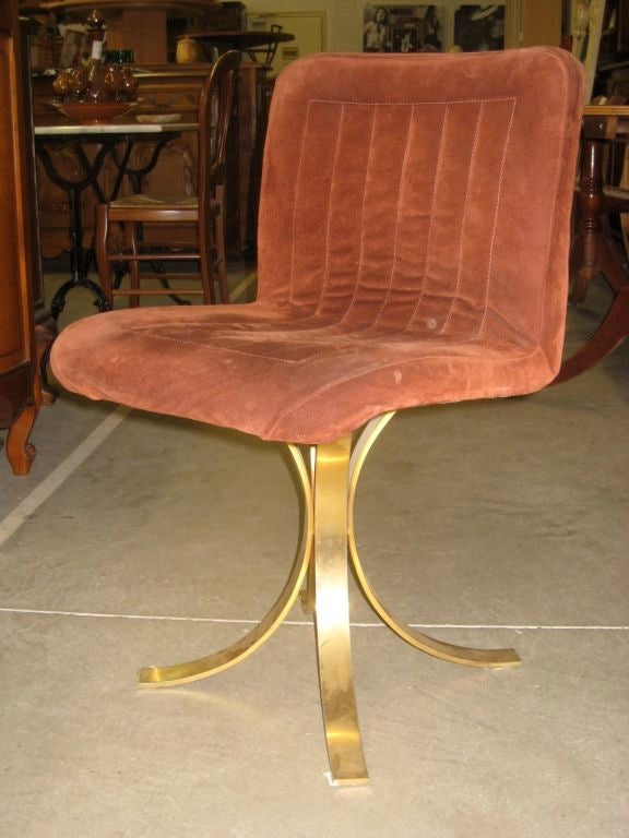set of 10 suede and brass dining chairs at 1stdibs