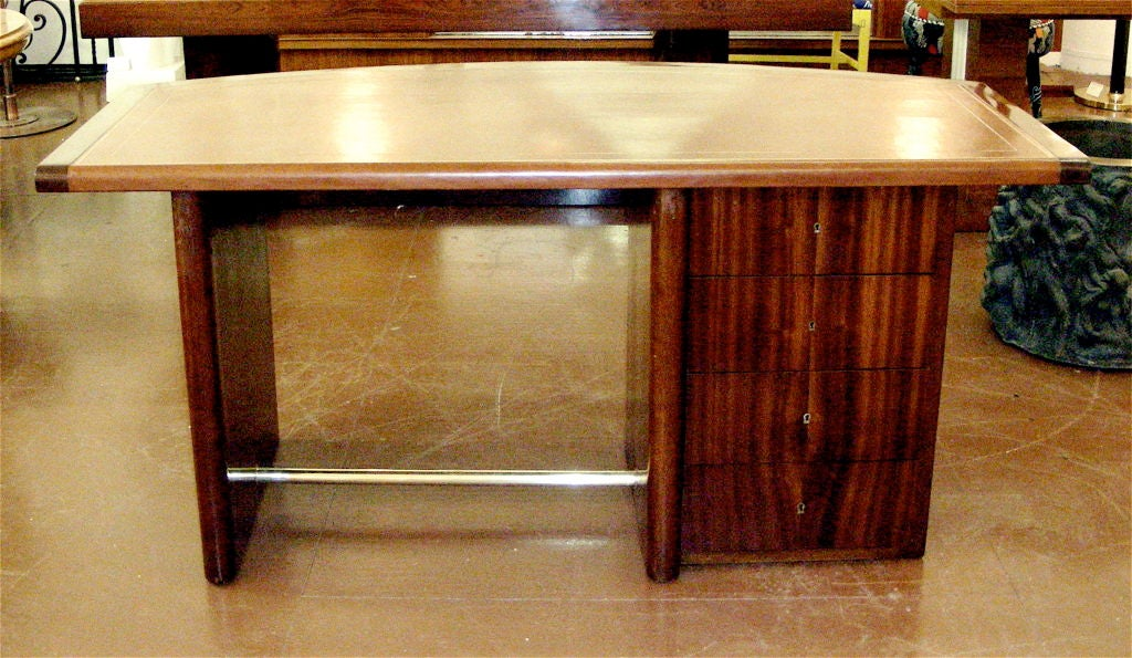 French Art Deco Curved Mahogany Desk For Sale