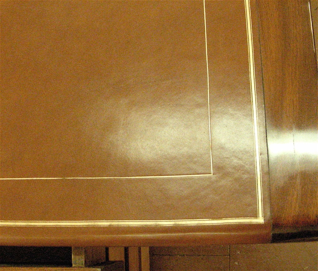 Leather Art Deco Curved Mahogany Desk For Sale