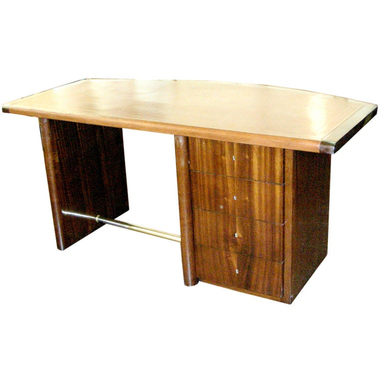 Art Deco Curved Mahogany Desk For Sale