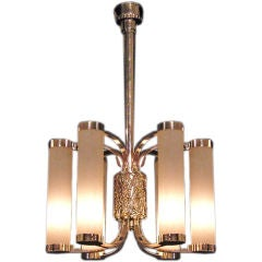 Fine French Art Deco Chrome and Glass Chandelier by Petitot