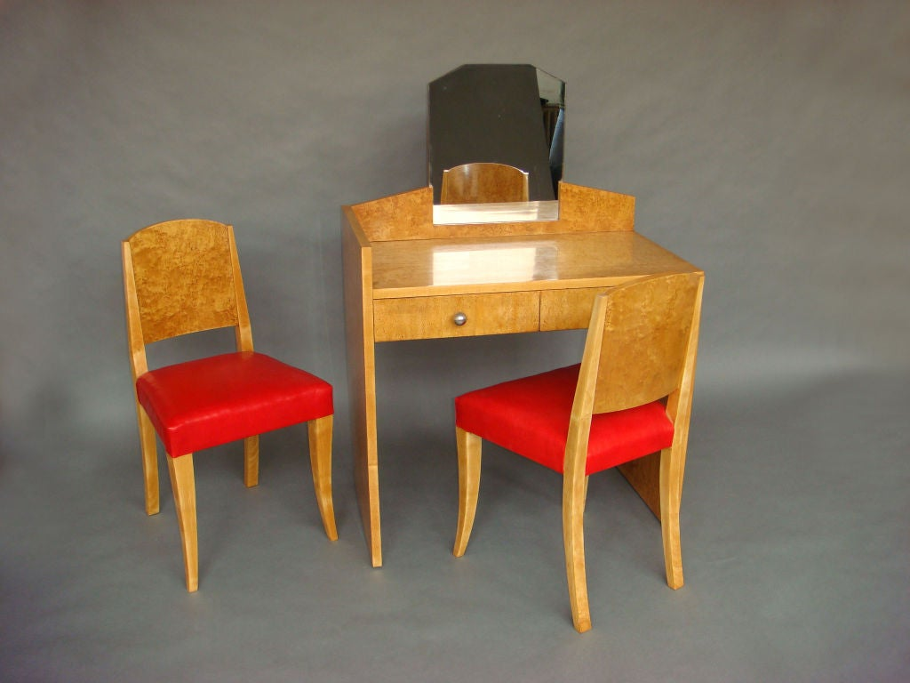Mid-20th Century A Fine French Art Deco Burled Birch Vanity or Desk. For Sale
