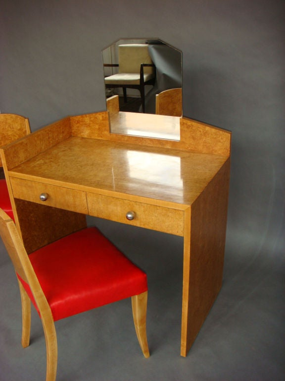 A Fine French Art Deco Burled Birch Vanity or Desk. For Sale 1
