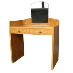 A Fine French Art Deco Burled Birch Vanity or Desk.