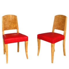 Pair of French Art Deco Burled Birch and Sycamore Side Chairs