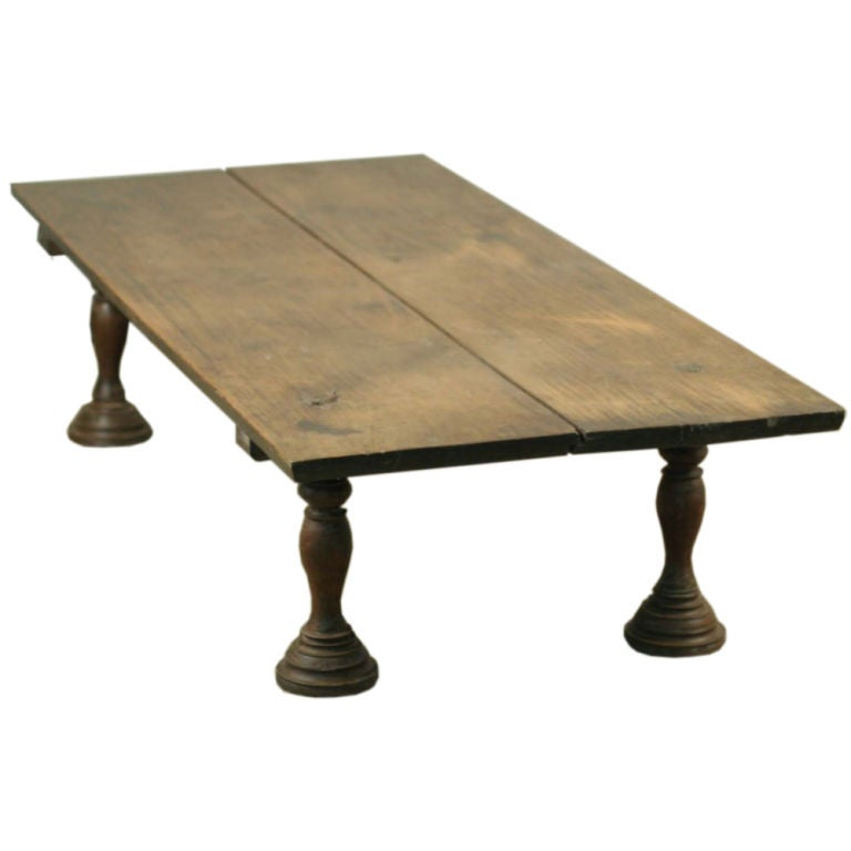 Wood Bed Or Coffee Table From Southern India With Turned Legs At 1stdibs