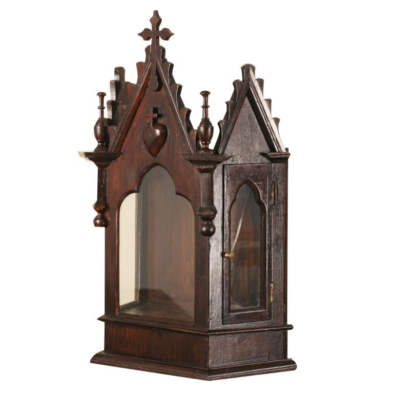 Indo portuguese rosewood altar with cross at 1stdibs for Altar wall decoration