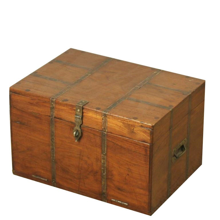 Indian Teak Jewelry Box With Metal Banding At 1stdibs