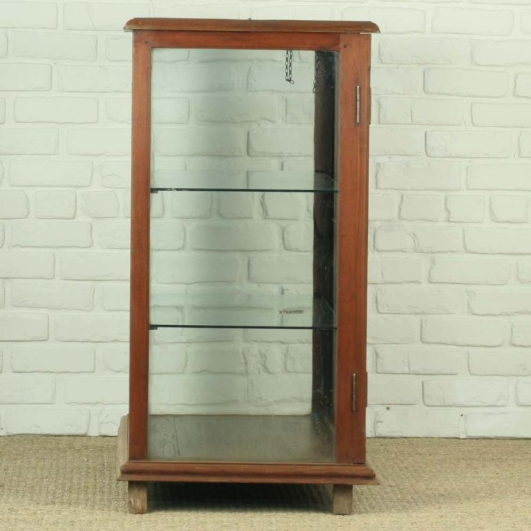 Teak Kitchen Cabinet Doors: Teak Display Cabinet With Glass Doors And Glass Shelves At