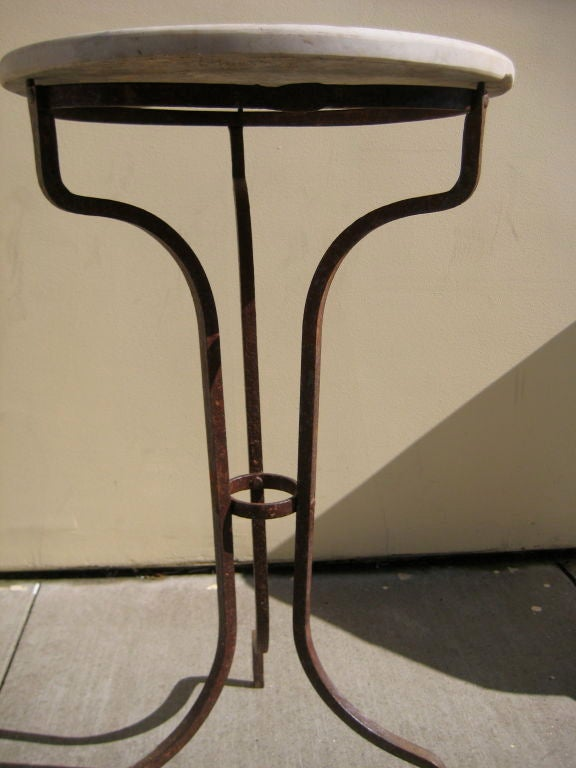 Wrought iron side table with marble top at 1stdibs for Wrought iron table bases marble top