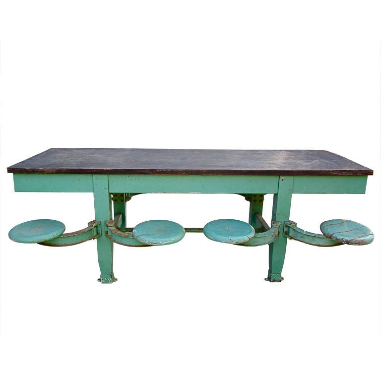 8 Seater Swivel Industrial Cafeteria Table At 1stdibs