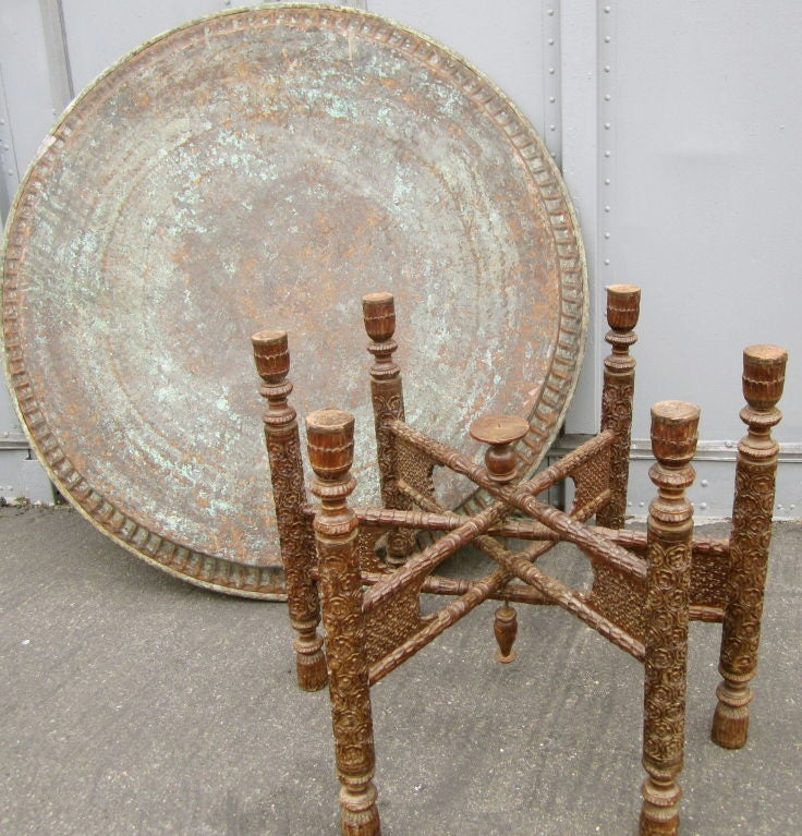 Coffee Table Copper Tray: Over Scaled Hammered Copper Tray Table At 1stdibs