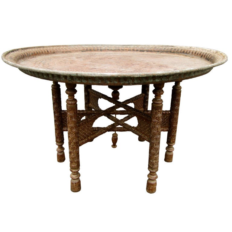 Antique Round Copper Coffee Table: Over Scaled Hammered Copper Tray Table At 1stdibs