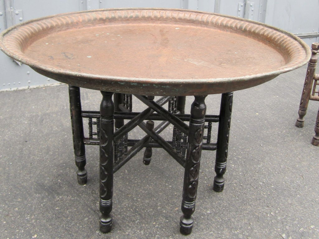 Egyptian Hammered Copper Tray Table At 1stdibs