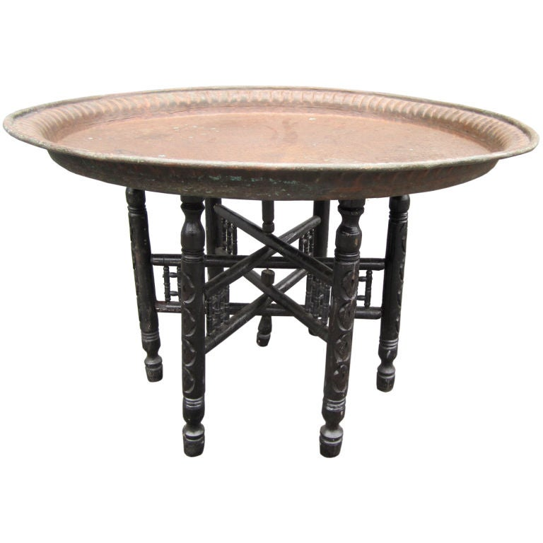 egyptian hammered copper tray table at 1stdibs. Black Bedroom Furniture Sets. Home Design Ideas