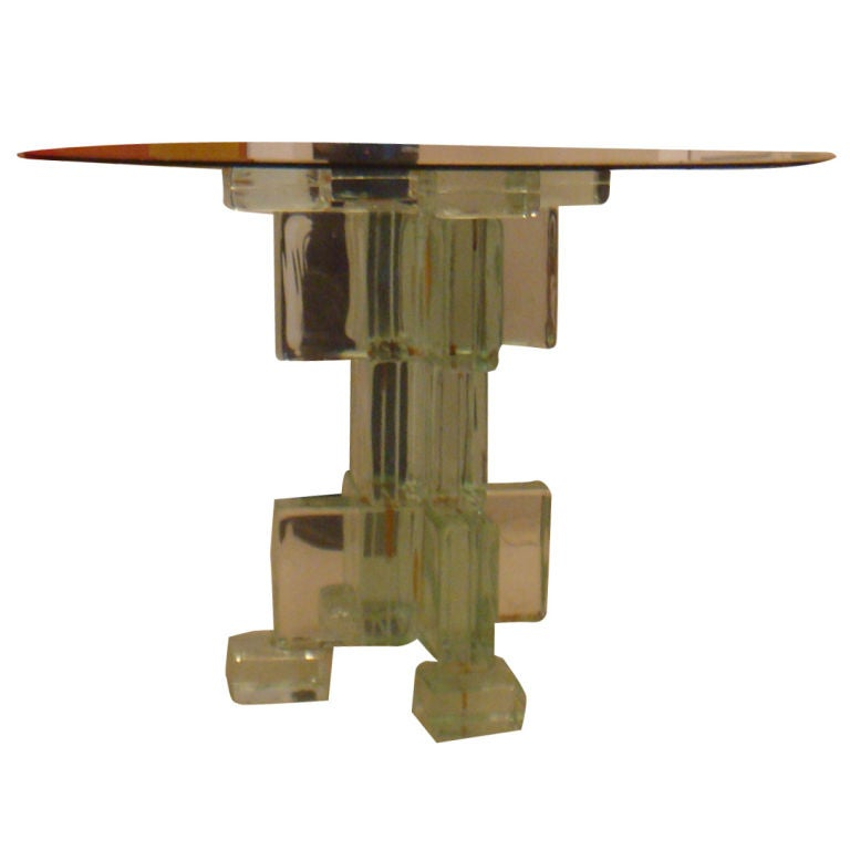 Glass Block Center Table At 1stdibs