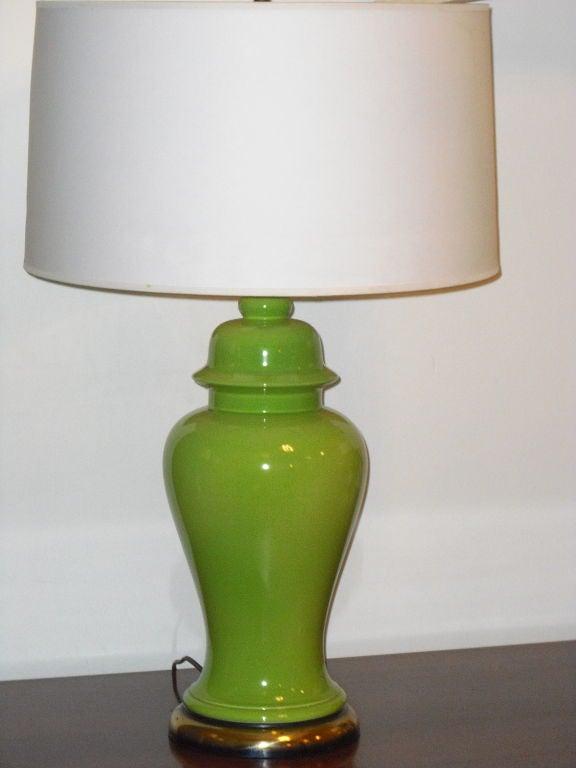 Pair Of Sixties Apple Green Ginger Jar Lamps At 1stdibs