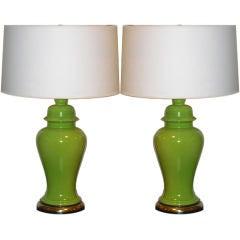 Pair of Sixties Apple Green Ginger Jar Lamps
