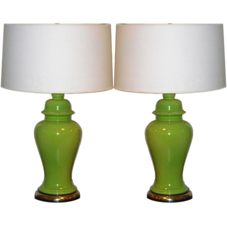 Mid century ginger jar lamp pair at 1stdibs - Pair Of Sixties Apple Green Ginger Jar Lamps At 1stdibs