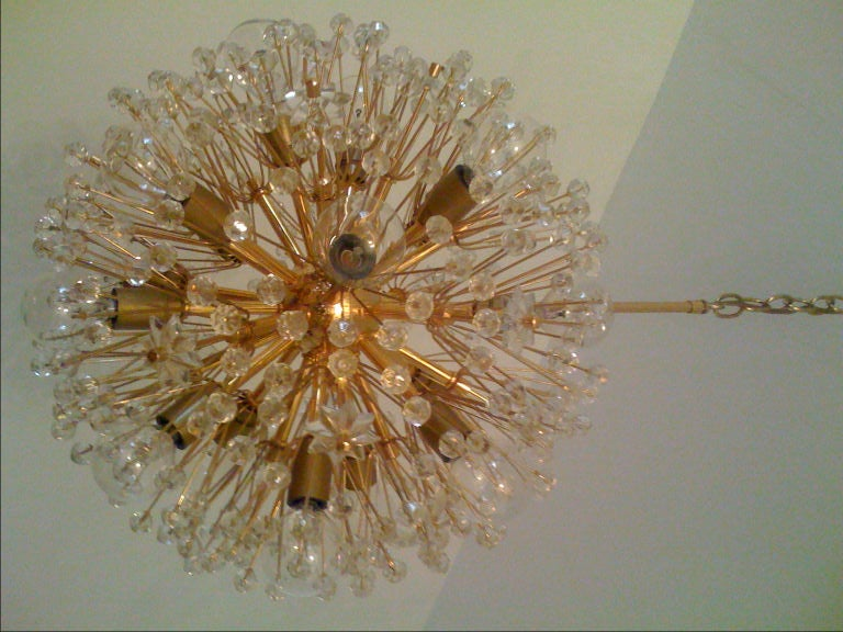Mid-20th Century J.L. Lombeyr Snowflake Chandelier For Sale