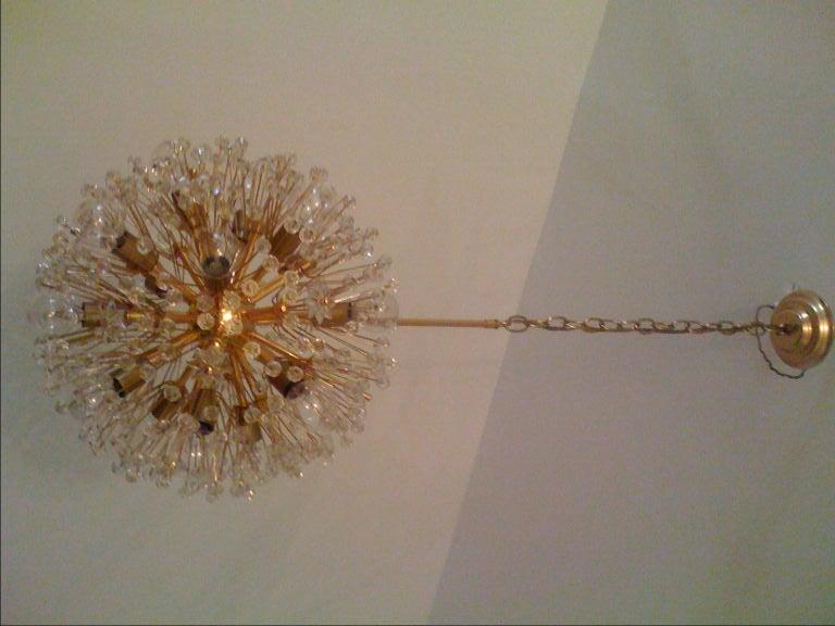 Brass J.L. Lombeyr Snowflake Chandelier For Sale