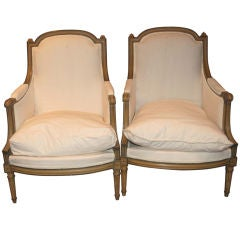 Pair of 19th c. Painted Bergeres
