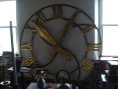Antique Monumental Architectural Iron Wall Clock