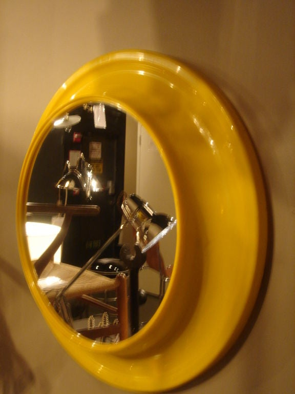 1970s Round Yellow Mirror In The Style Of Kartell At 1stdibs